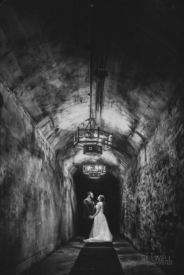 Bride and Groom Wine Cellar Portrait
