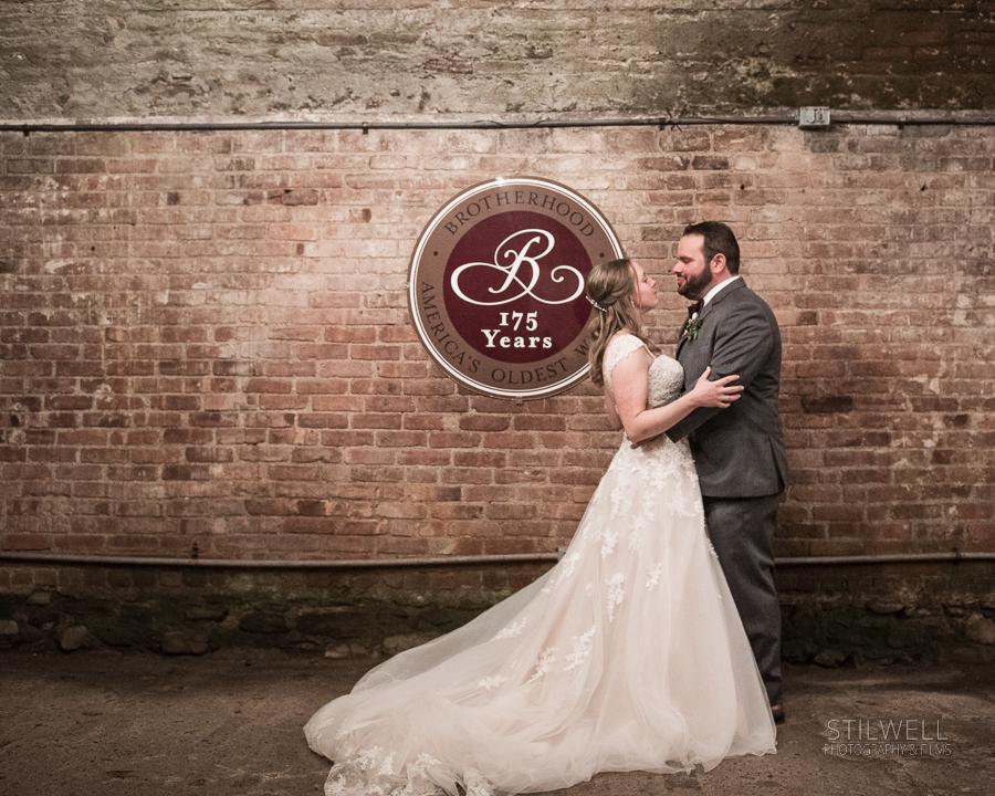 Brotherhood Wine Cellar Bride and Groom Portrait