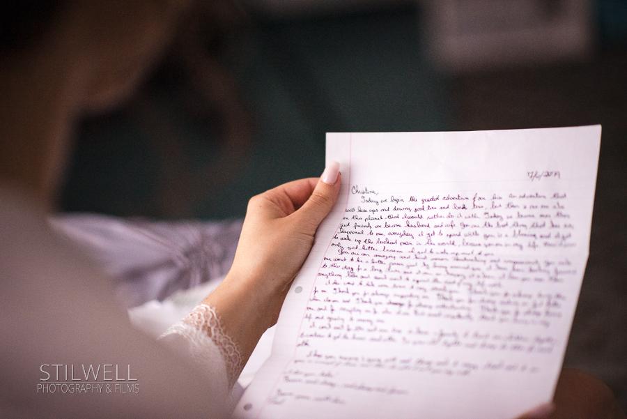 Bride Note Reading Villa Barone Wedding