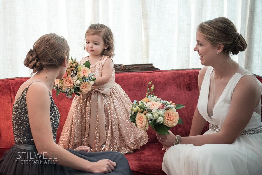 Bride and Flower Girl Senate Garage Wedding