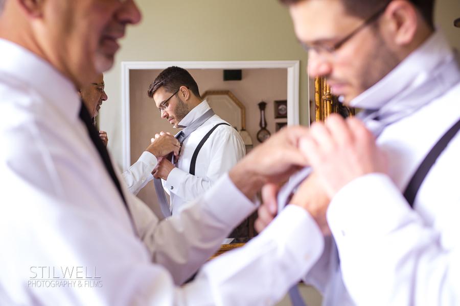 Groom Getting Ready on Wedding Day Morning