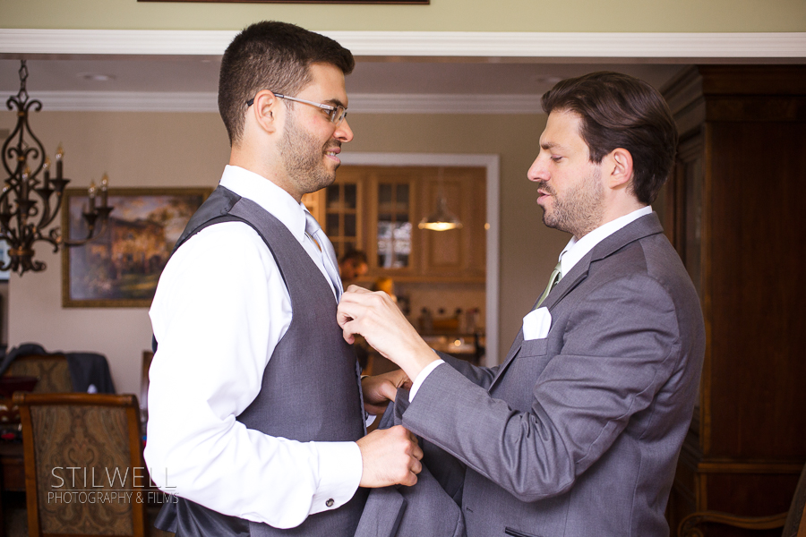 Groom and Best Man Getting Read