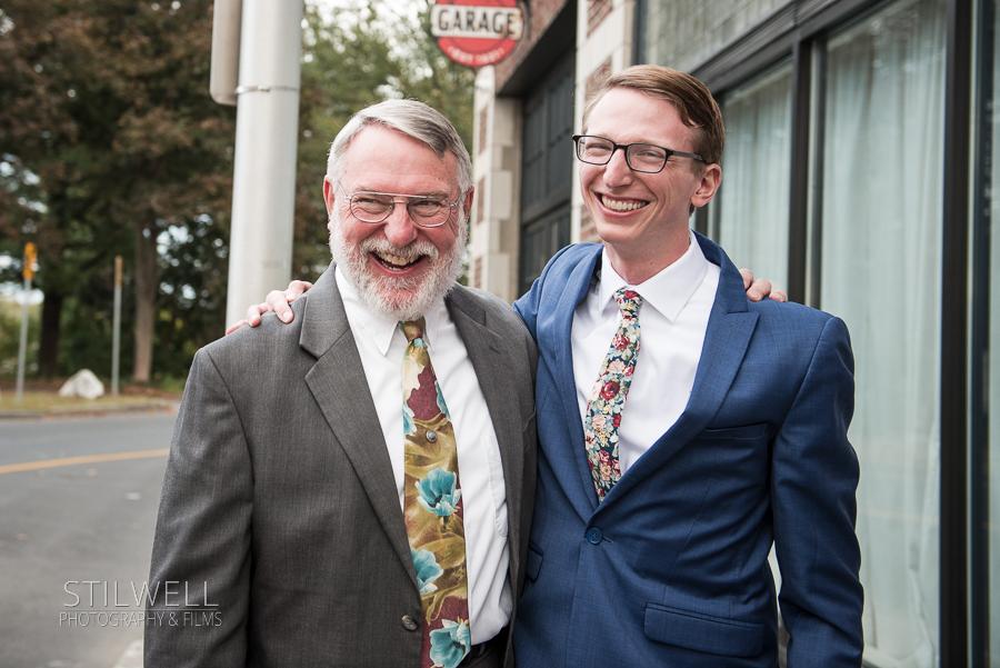 Groom and Dad Senate Garage Wedding