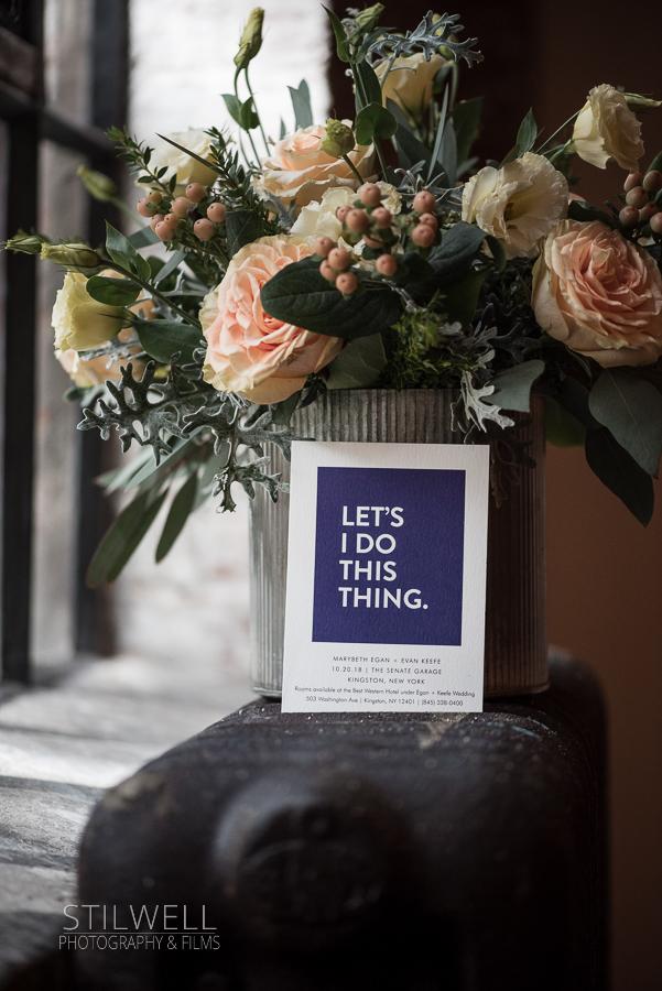 Senate Garage Wedding Invitation with Centerpiece