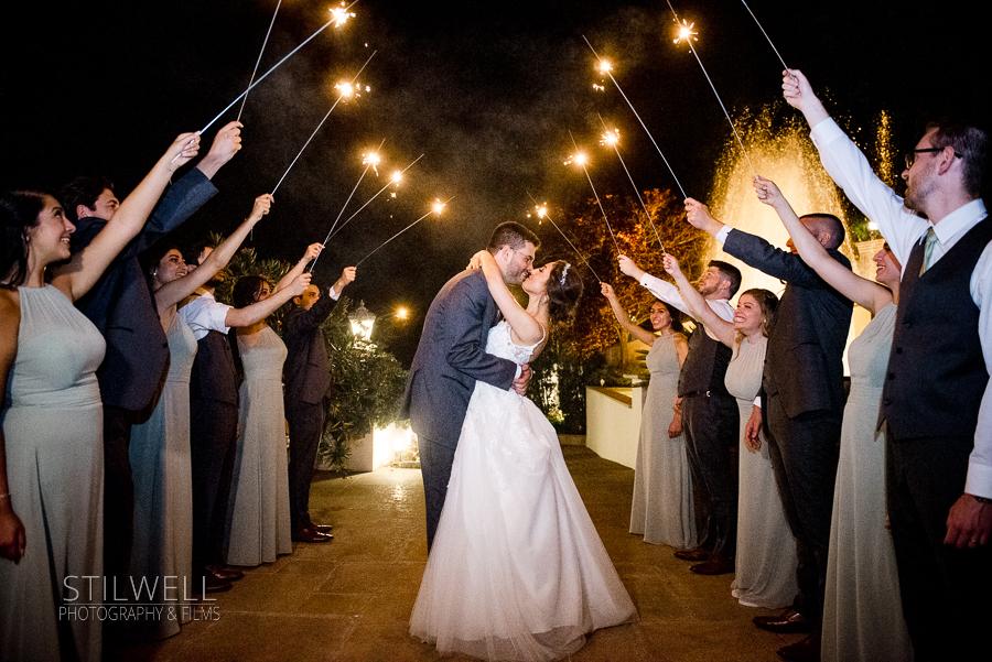 Sparkler Exit Villa Barone Hilltop Manor Wedding Mahopac NY