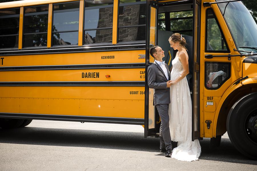 Bride and Groom Bus Portrait Rye NY Wedding