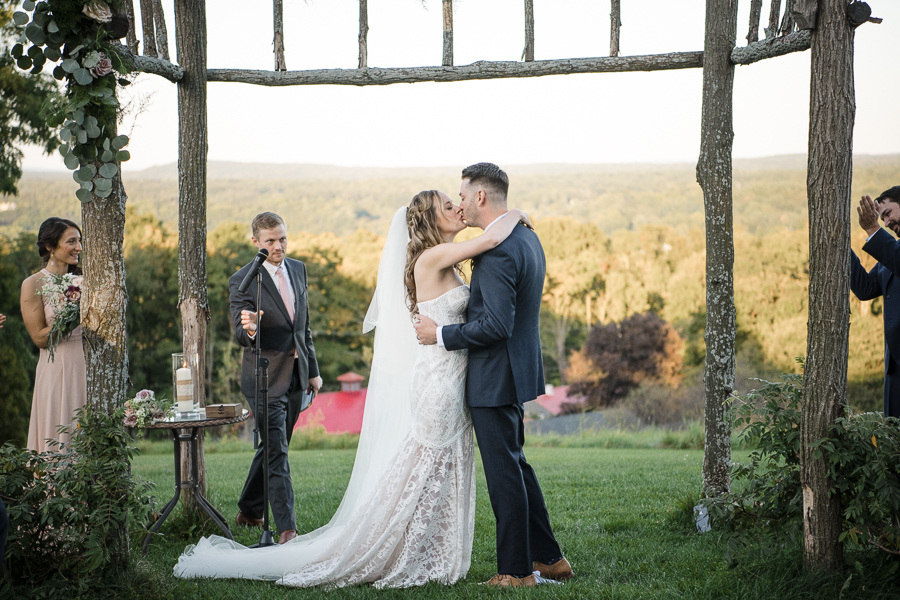 First Kiss Wedding at Red Maple Vineyard