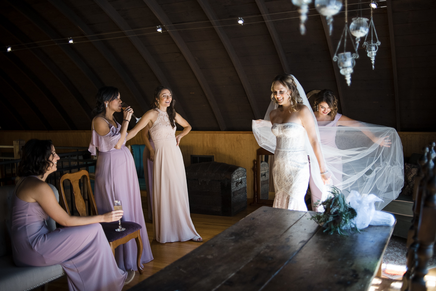 Red Maple Vineyard Bride and Bridesmaids