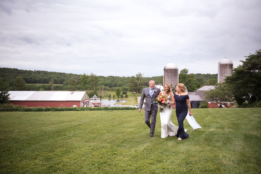 Bride Walking Down Aisle Gilbertsville Farmhouse