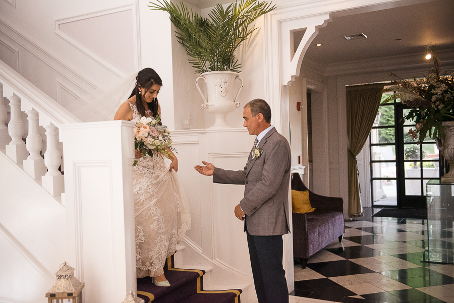 Bride and Dad Villa Venezia Wedding Ceremony