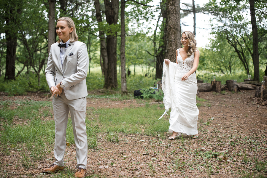 First Look Rustic South New Berlin Wedding