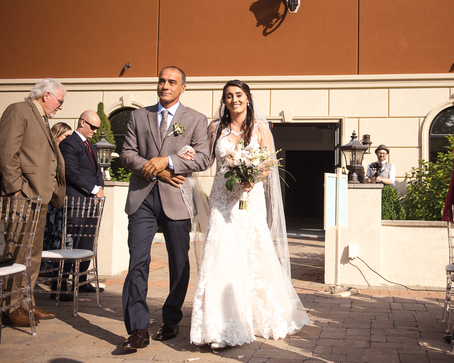 Wedding Ceremony Villa Venezia Bride and Dad