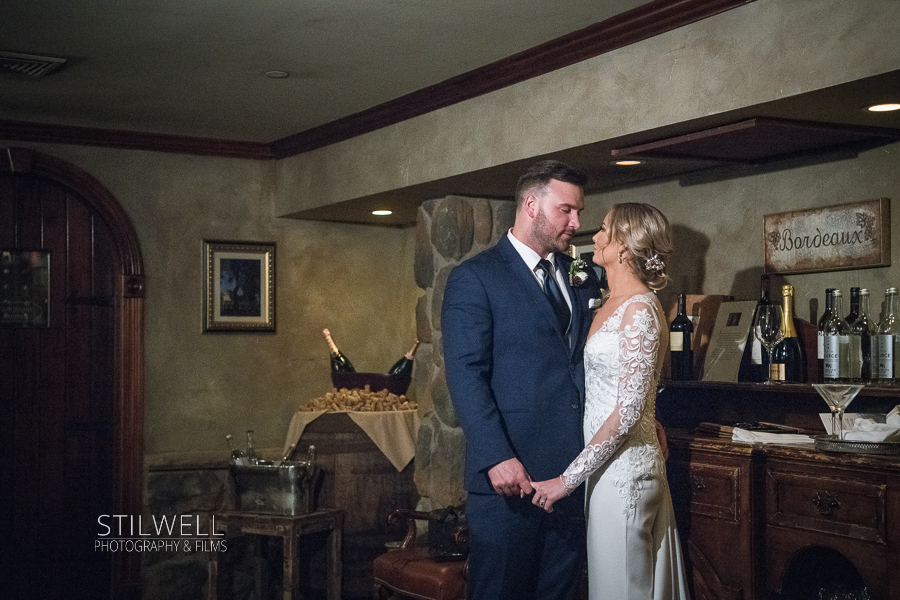 Bride and Groom Crystal Springs Resort Wine Cellar