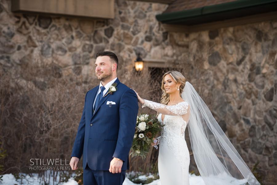 First Look Crystal Springs Wedding